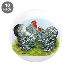 "Silver-laced Cochin Rooster a 3.5"" Button (10 pack"