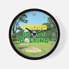 Amara is Out Golfing (Gold) Golf Wall Clock