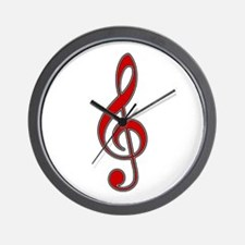 Retro Red Treble Clef Wall Clock