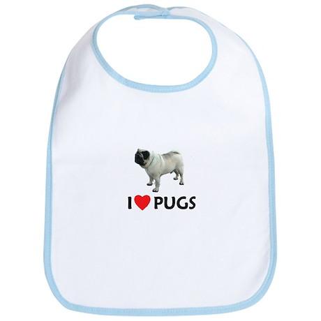I Love Pugs Bib