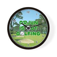 Arjun is Out Golfing (Green) Golf Wall Clock