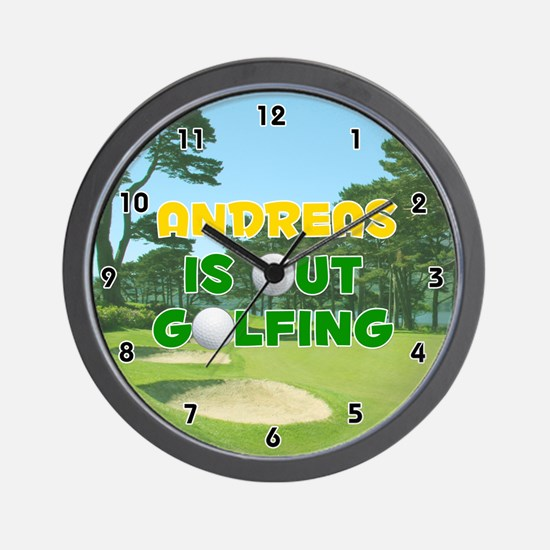 Andreas is Out Golfing (Gold) Golf Wall Clock