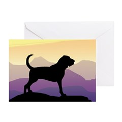 Bloodhound Purple Mountain Greeting Cards (Pk of 1