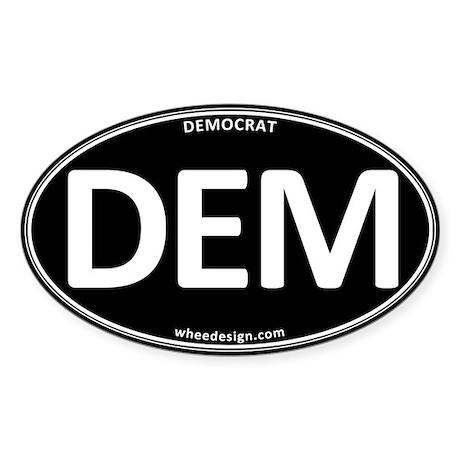 DEM - Black Democratic Party Sticker (Oval)