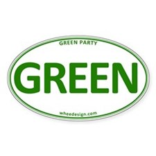 Green Party on White Decal
