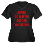 Aspire Inspire Expire Women's Plus Size V-Neck Dar