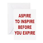 Aspire Inspire Expire Greeting Cards (Pk of 20)