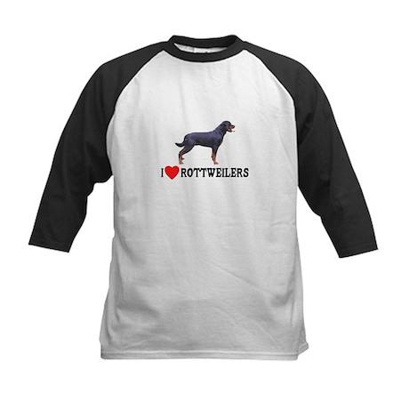I Love Rottweilers Kids Baseball Jersey