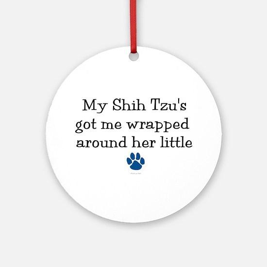 Wrapped Around Her Paw (Shih Tzu) Ornament (Round)