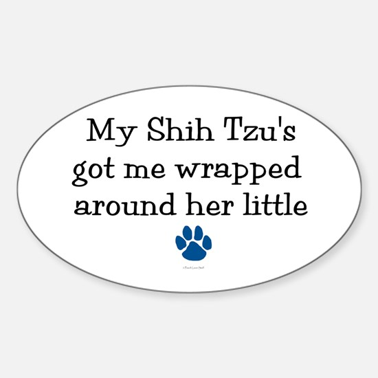 Wrapped Around Her Paw (Shih Tzu) Oval Decal
