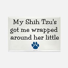 Wrapped Around Her Paw (Shih Tzu) Rectangle Magnet