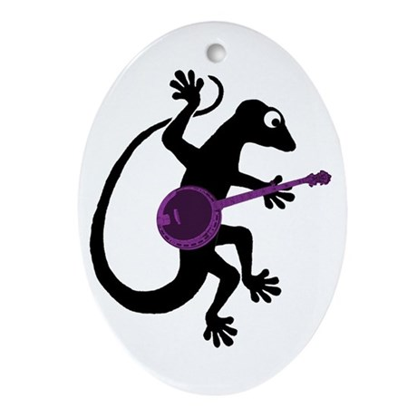 Gecko Banjo Ornament (Oval)