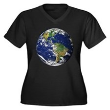 Planet Earth Women's Plus Size V-Neck Dark T-Shirt