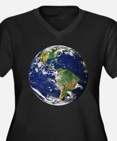 Planet Earth Women's Plus Size V-Neck Dark T-Shirt