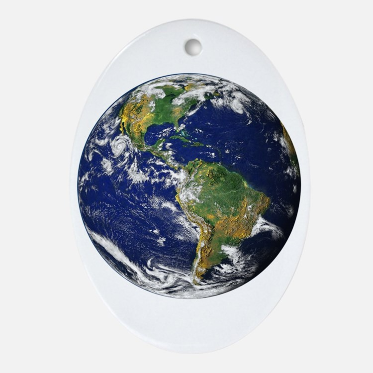 Planet Earth Oval Ornament