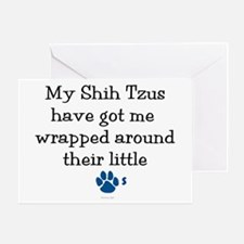 Wrapped Around Their Paws (Shih Tzu) Greeting Card
