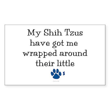 Wrapped Around Their Paws (Shih Tzu) Sticker (Rect