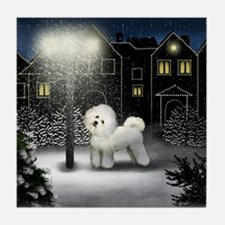 BICHON FRISE DOG SNOW CITY Tile Coaster