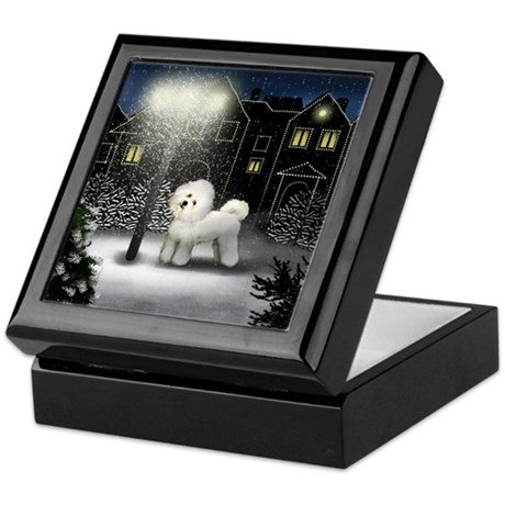BICHON FRISE DOG SNOW CITY Keepsake Box
