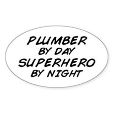 Plumber Day Superhero Night Oval Decal