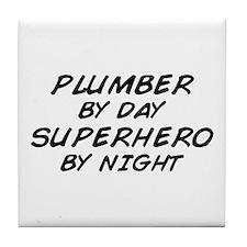 Plumber Day Superhero Night Tile Coaster