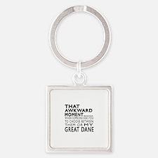 Awkward Great Dane Dog Designs Square Keychain