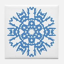 Frenchie Snowflake Tile Coaster