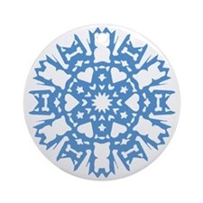 Frenchie Snowflake Ornament (Round)