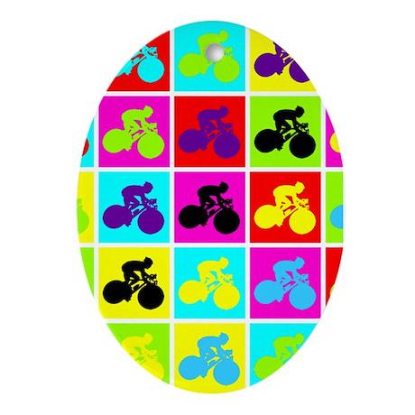 Pop Art Cyclist Oval Ornament
