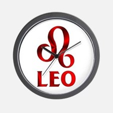 Red Leo Astrological Symbol Wall Clock