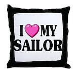 I love ( heart ) my sailor Throw Pillow