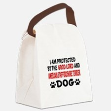 Protected By American Staffordshi Canvas Lunch Bag