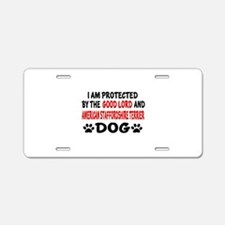 Protected By American Staff Aluminum License Plate