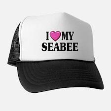I Love ( Heart ) My Seabee Trucker Hat