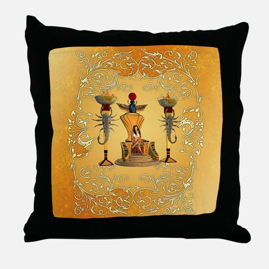 Egyptian women on a throne Throw Pillow