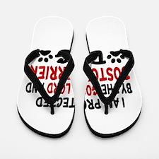 Protected By Boston Terrier Flip Flops