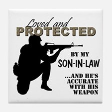 Cute Army son in law Tile Coaster