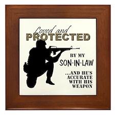 Cute Marine son in law Framed Tile