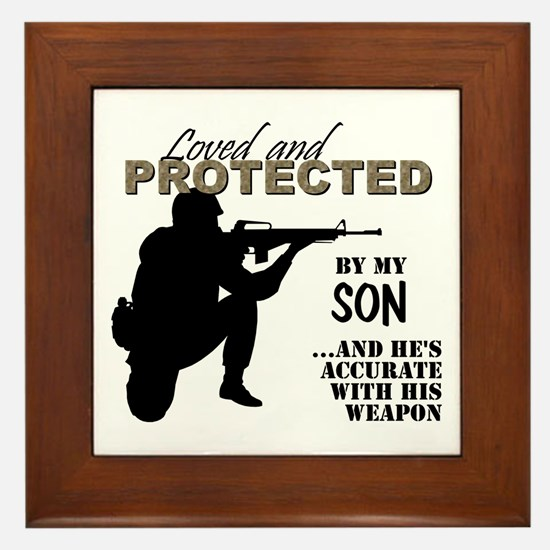 Cute Marine father Framed Tile