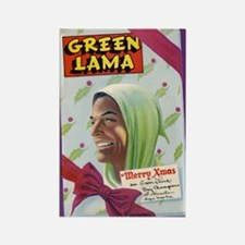 $4.99 Green Lama Christmas Magnet