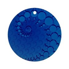 Blue Julia Set Crop Circles Ornament (Round)