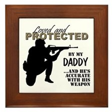 Cute Marine step dad Framed Tile