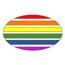 SEPARATED RAINBOW STRIPES Oval Decal