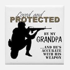Unique Army grandpa Tile Coaster