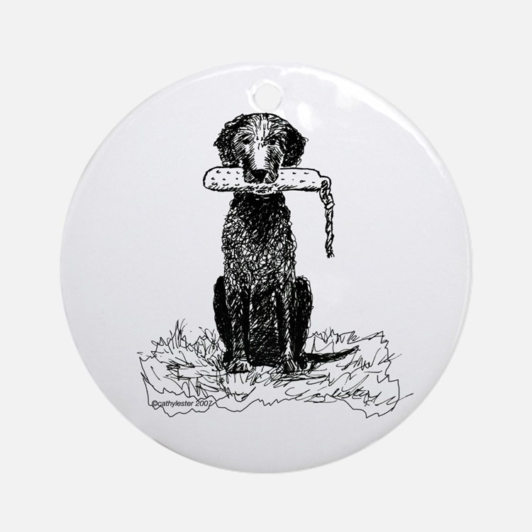 Curly-Coated Retriever with Bumper Ornament (Round