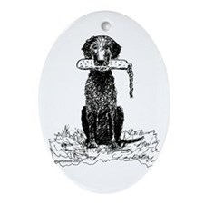 Curly-Coated Retriever with Bumper Oval Ornament