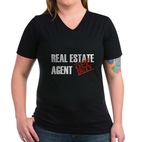 Off Duty Real Estate Agent Women's V-Neck Dark T-S