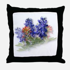 Bluebonnets with Indian Paint Throw Pillow