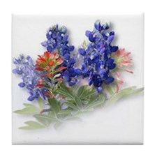 Bluebonnets with Indian Paint Tile Coaster