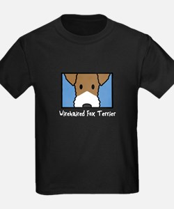 Anime Wirehaired Fox Terrier Kids Black T-Shirt